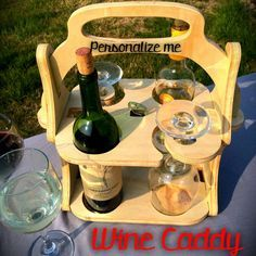 Personalized Wine Tote Wood Wine Caddy Wine by Imagineeringshop