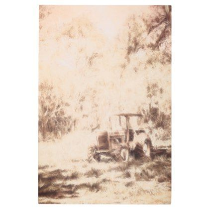 #Posters #Metal #Art - #Digitally drawn vintage farm yard tractor metal print