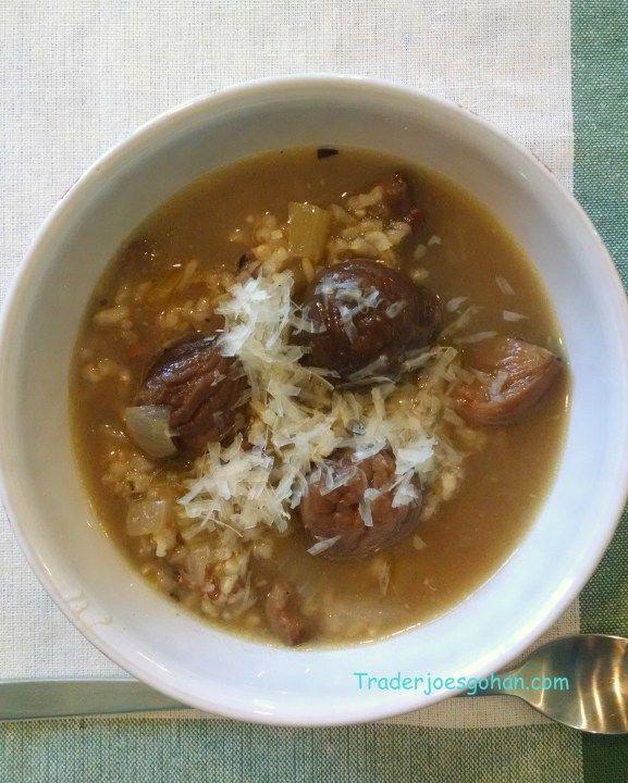 トレーダージョーズの栗と玄米のスープレシピ Trader Joe's Peeled & Cooked Chestnuts