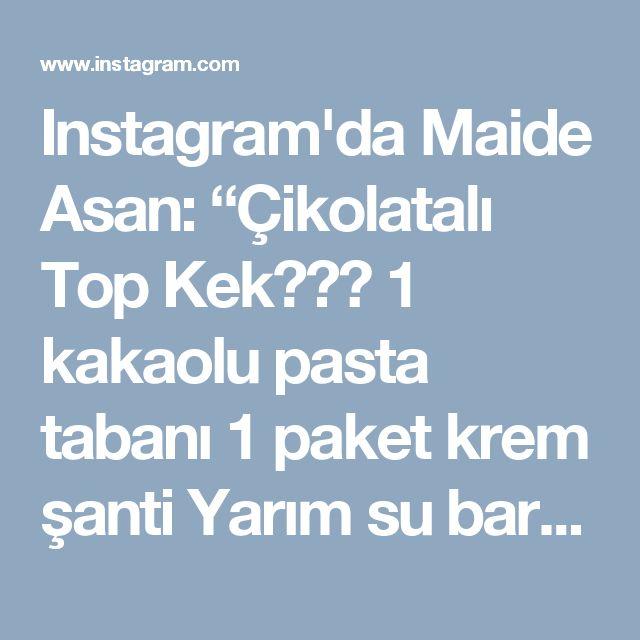 """Instagram'da Maide Asan: """"Çikolatalı Top Kek🍡🎂🍡 1 kakaolu pasta tabanı 1 paket krem şanti Yarım su bardağı süt 80 g bitter çikolata 40 g sütlü çikolata Yapılışı💐 1…"""" • Instagram"""