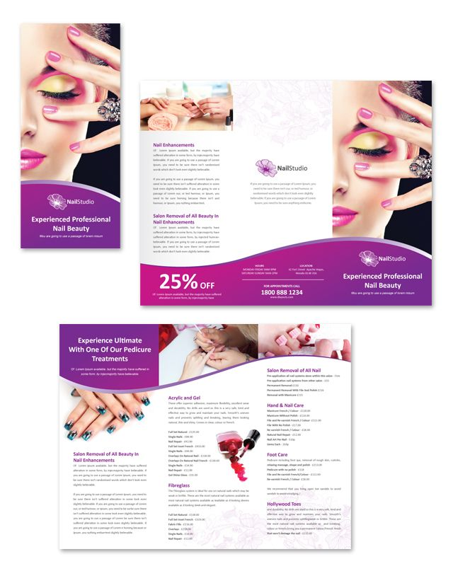 Nail beauty salon tri fold brochure template http wwwdlayoutscom template 652 nail beauty for Nail salon brochure