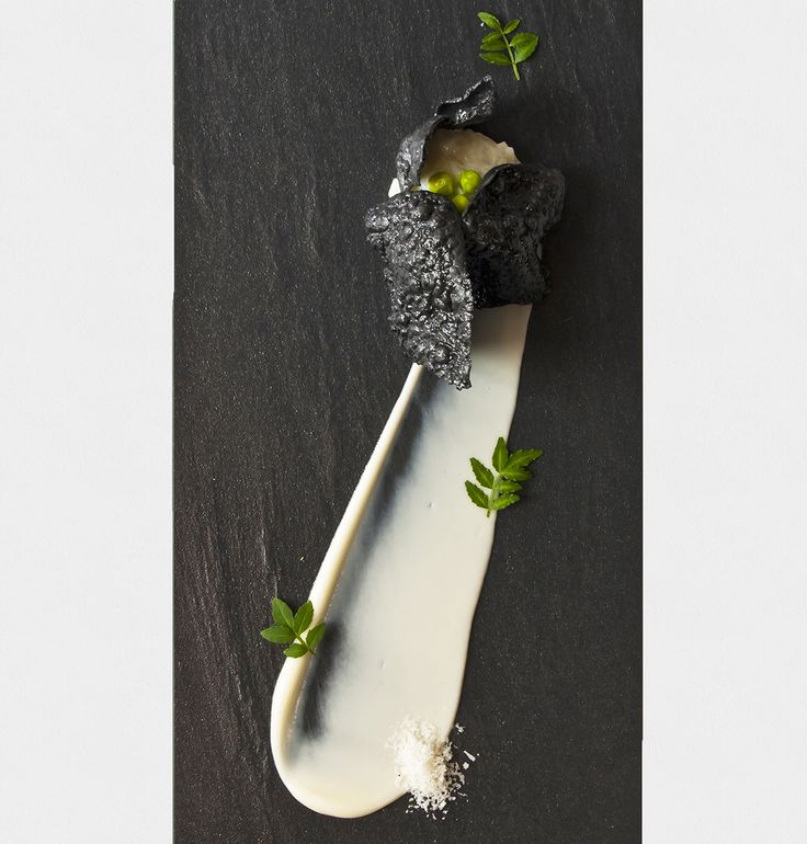Japanese Ika Risotto with Charcoal Rice Chips paired with Cauliflower Purée and Sugar Peas | André Chiang