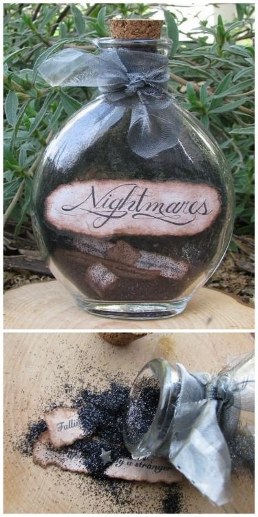 "Nightmares Bottle from the Etsy Store of wanderingmaid for $15. Having sold my own crafts, $15 is really cheap considering the amount of time this took and glitter used. Wanderingmaid's description of the Nightmares Bottle:  This vintage look bottle is filled with mystical black ""dust"" that only the dark night can bring as well as tiny antiqued papers with classic nightmare themes on them that you may want to keep bottled up! Outside bottle has shimmery black tulle wrapped around the neck…"