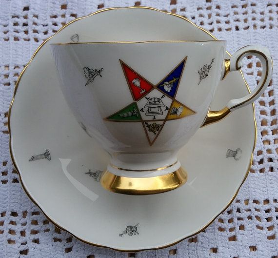 OES Tuscan China Tea Cup and Saucer Order of Eastern Star Tea