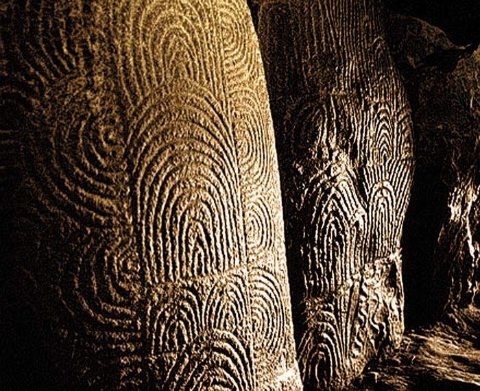 engravings on megaliths forming the resonant chambers of Gavrinis Cairn, in Brittany, France