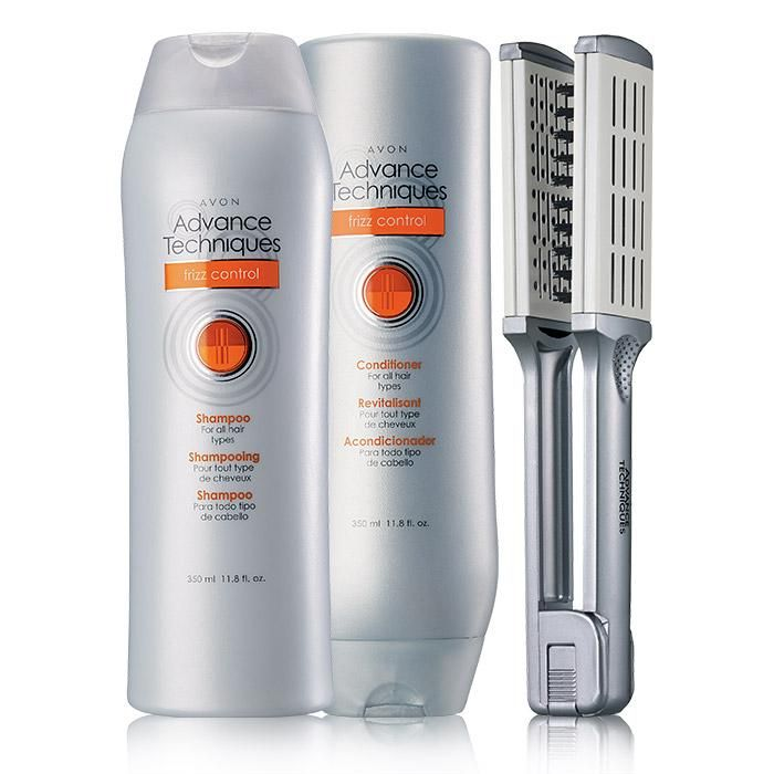 """Frizz control products sure to make your hair look great! A $25 value, this collection includes:• Frizz Control Shampoo - 11.8 fl. oz.$8 value• Frizz Control Conditioner - 11.8 fl. oz. $8 value • Straightening Brush - 9 1/4"""" L $9 value"""