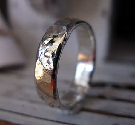 Spectacular Rustic Mens Wedding Band Sterling Silver and Gold Width Hammered Texture Handmade Wedding Ring or Commitment Ring