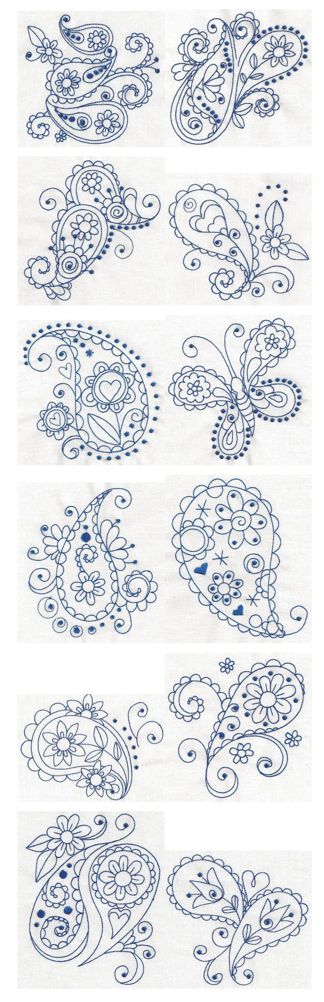 Paisley Blues Redwork