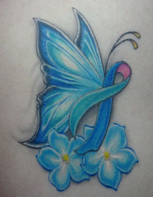 I got this tattoo in honor of my battle with thyroid cancer. The thyroid cancer ribbon is blue, pink, and teal. The thyroid is butterfly shaped, hence the butterfly. The flowers are forget-me-nots so I remember everything Ive been through and remember to take the best steps to prevent recurrence. my-tattoos