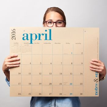 Our best-selling academic calendar features bold color combined with clean style printed on oversized sheets of our 100% recycled Paper Bag. Write appointments and notes over 17-months (each month features different color text) in a format that makes scheduling fun! Keep this great big calendar on your desk as a blotter or on your wall.