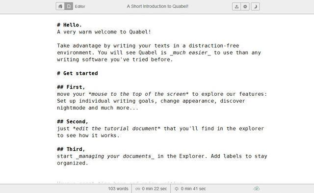 Quabel: un editor de texto online, minimalista y sin distracciones