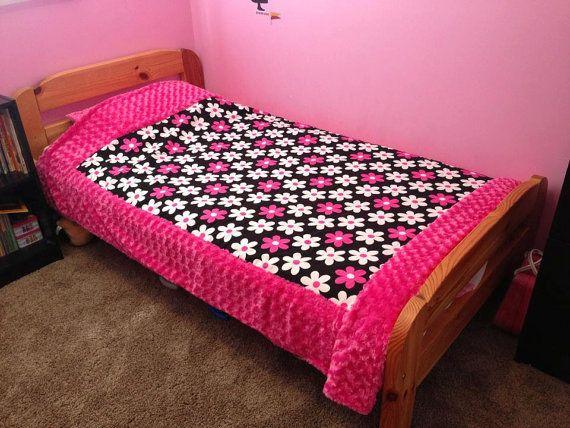 Cotton/Minky Twin Size Minky Blanket 85 x 60 by tarascozycreations
