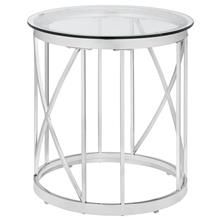 Table d'appoint ronde en verre avec base en métal