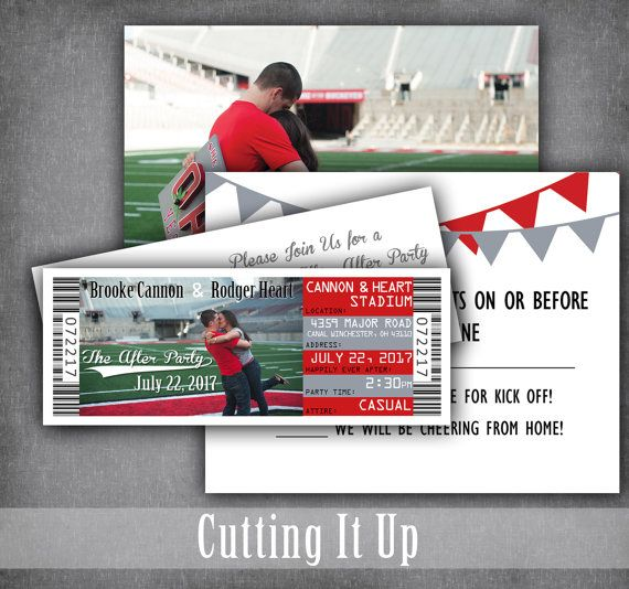 Football Wedding Ticket Invitations, Football Tickets, Sport Wedding Invitation Set, RSVP, Football, The Ohio State, NCAA, Bar Mitzvah, NFL by CuttingItUp