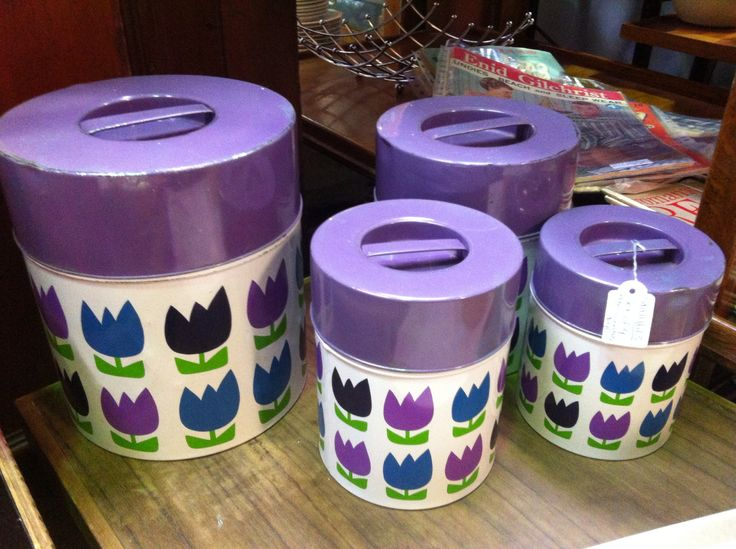 Vintage retro purple tins canisters - bought these beauties home today!