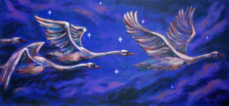 """Mascha Düben, """"Schwanengesang Nachtflug"""" (6) Acryl auf Leinwand, Malerei, Schwan, Wasser, Luft, Flug, Nacht, Himmel, Sterne, Vogelzug"""