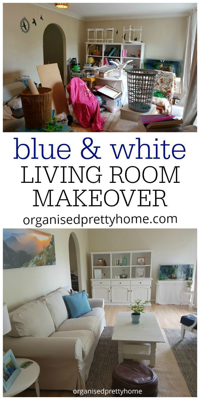 Blue Colours And White, Beige Neutrals. Decor On A Budget. One Room  Challenge   Before And After   Living Room Reveal   Organised Pretty Home # Coastal ...