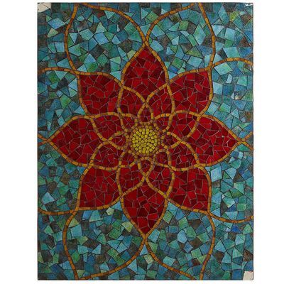 Red Mosaic Flower Wall Panel Home Decor Ideas