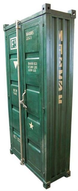 Steel lockable cabinet made from a shortened shipping container.