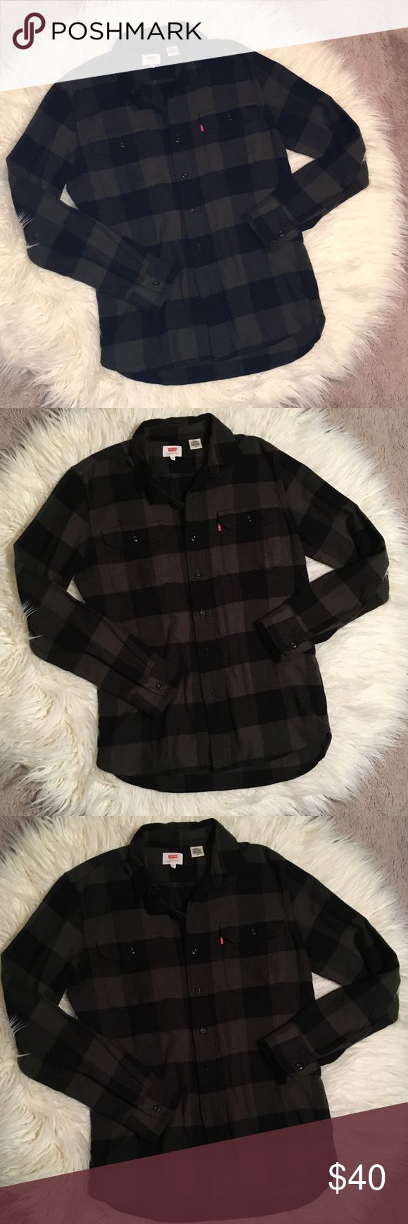 Levi's Green & Black Plaid Flannel Mens Size Small Worn only once! Pretty Hunter green and black plaid flannel. Super soft & Cozy! Purchased directly from Levis store. Technically a Men's Size Small but I wear a xs/s in Women's and loved this as a looser fitting flannel. Levi's Shirts Casual Button Down Shirts