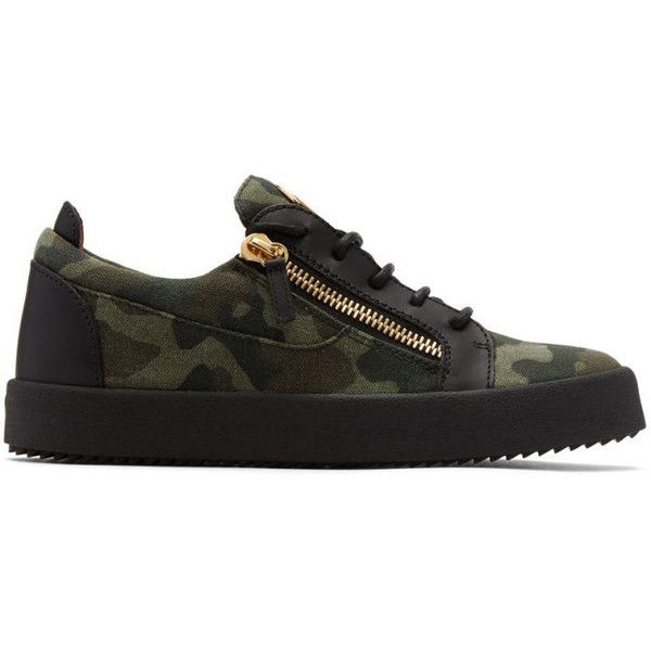 Giuseppe Zanotti Khaki Camo May London Sneakers (1.847.590 COP) ❤ liked on Polyvore featuring men's fashion, men's shoes, men's sneakers, khaki, mens rubber sole shoes, mens low profile shoes, mens camo shoes, mens khaki shoes and giuseppe zanotti mens shoes