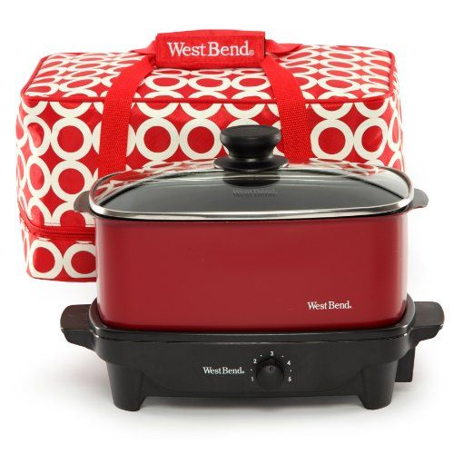 West Bend 84915R Versatility Slow Cooker with Insulated Tote and Transport Lid, 5-Quart, Red West Bend,http://www.amazon.com/dp/B00BDRZJXM/ref=cm_sw_r_pi_dp_FYMatb0XMH2XZZBC
