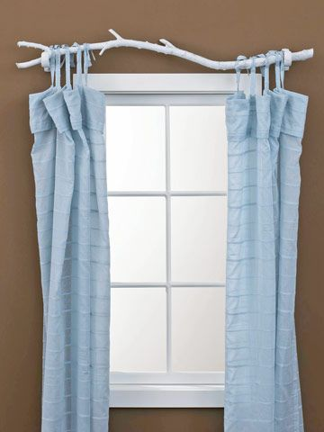 Tree branch as curtain rod - lovely idea but how practical in reality? would curtains be easy to open/close? Also I would leave the branch unpainted.
