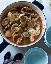 Beer-Braised Chicken Wings with Clams and Chickpeas Recipe on Food & Wine