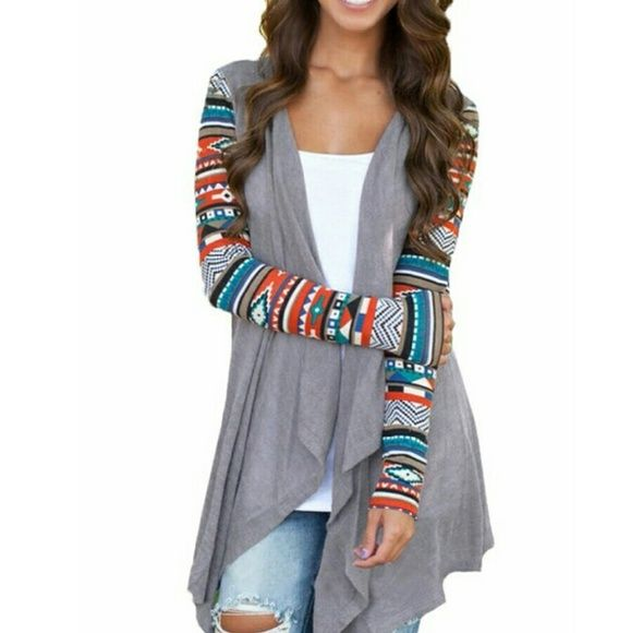 **SALE ** NWOT Aztec sleeved open cardigan Gray open cardigan with colorful Aztec sleeves. Never worn! SheIn Tops Tees - Long Sleeve