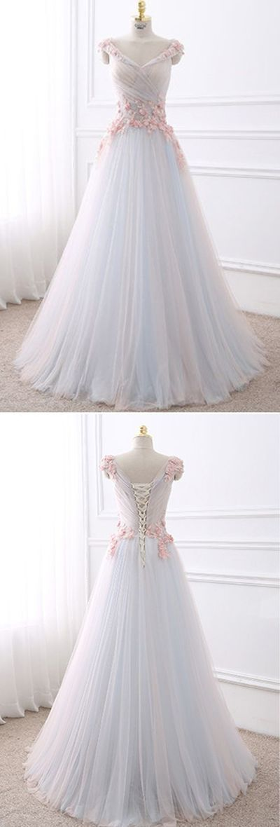 Cute flowers appliqued white tulle long prom dress…