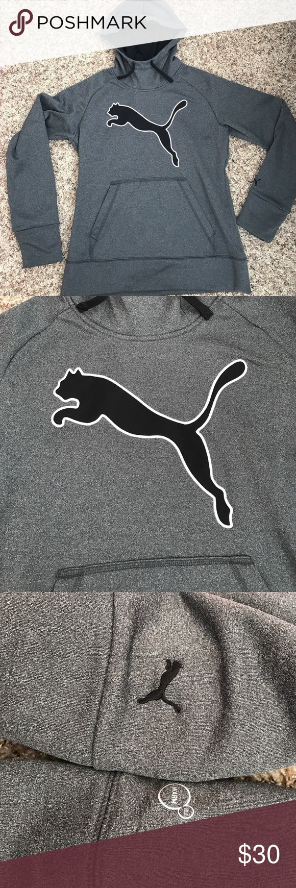 Gray and black PUMA sweatshirt Very soft and warm PUMA sweatshirt, worn maybe once or twice, in perfect condition! Puma Tops Sweatshirts & Hoodies