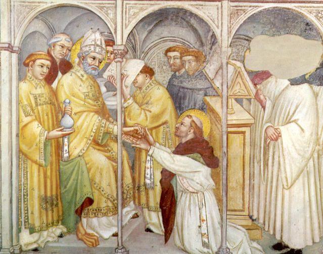 St. Augustinus van Hippo. -  1420/30(?) Plafondschildering door Ottaviano Nelli. Italië, Gubbio, Sant 'Agostino Priesterwijding van Augustinus door Valerius te Hippo.