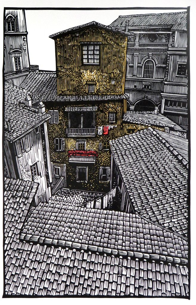 Studio View~Firenze, Italia ~ Linocut, 10.5 x 16.5 inch ~ Rik Olson ~ View from the window of a friend's studio in Florence, Italy.