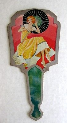 Vintage Bridge Tally Hand Fan w Woman Umbrella | eBay
