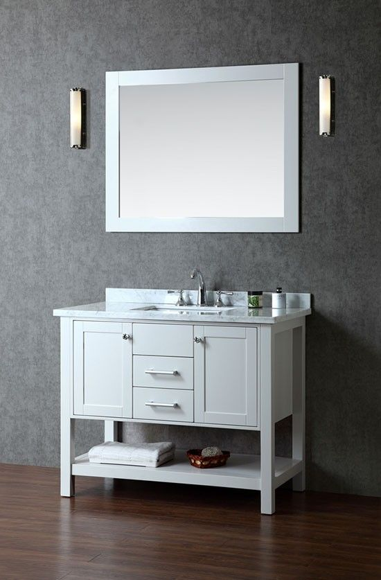 Ariel Bayhill (single) 42-Inch Cloud Grey Transitional Bathroom Vanity Set