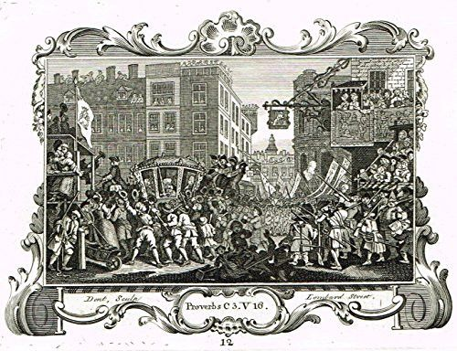 """Hogarth's Illustrated - """"LORD MAYOR OF LONDON"""" - (Ilustrated by John Ireland) - Antique Copper Engraving - 1793"""