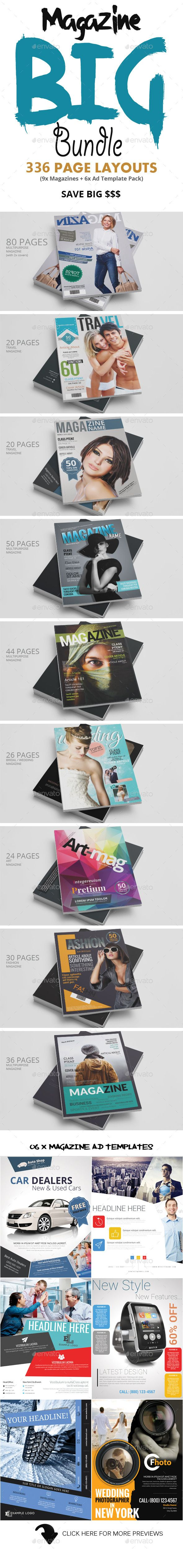 Photoshop Magazine Big Bundle - Magazines Print Templates 9x Magazines + 6x Magazine Ad Template Pack (10x Items worth $178) This is a Photoshop Magazine Template bundle containing 9x magazine templates and an Ad template pack. total of 336 page layouts. these page layouts can be used as magazines or brochures.