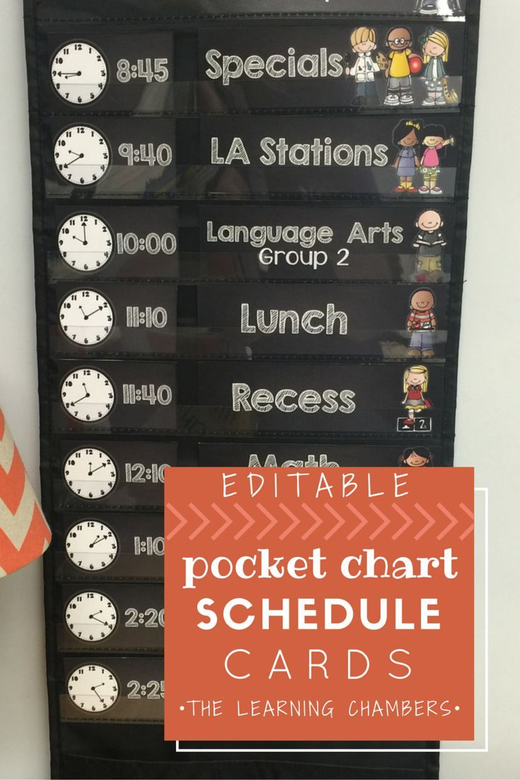 Editable Visual Schedule that fits in a standard sized schedule pocket chart.