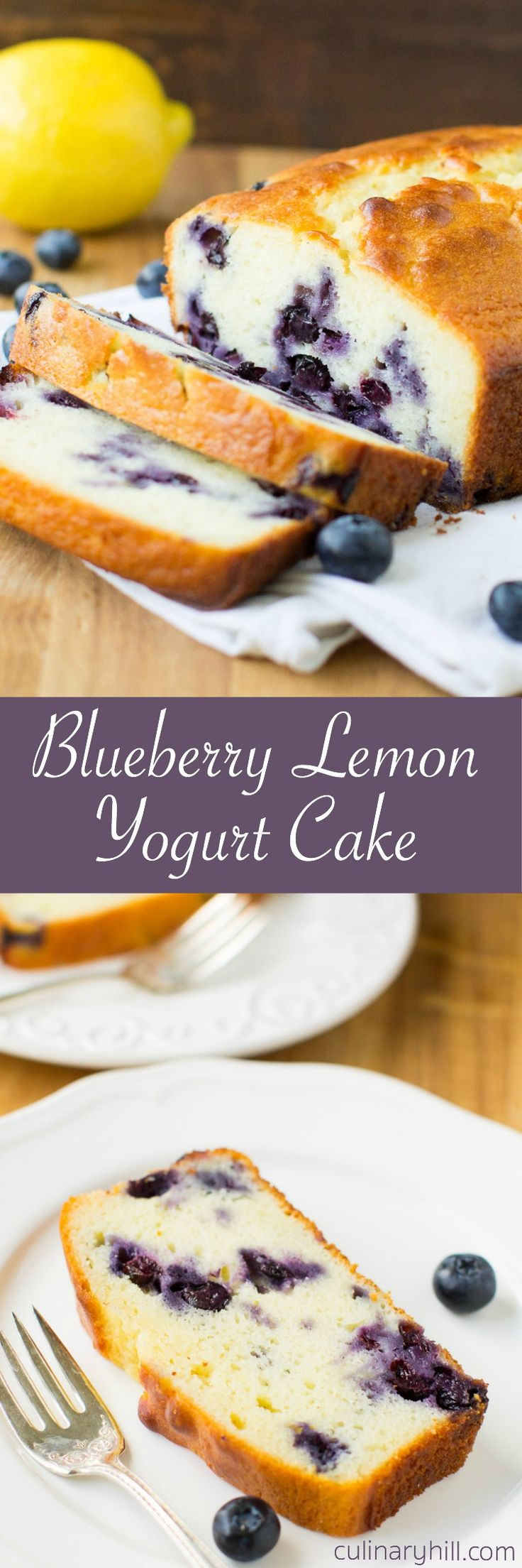 Lemon Yogurt Cake recipe with fresh blueberries and rich Greek yogurt.
