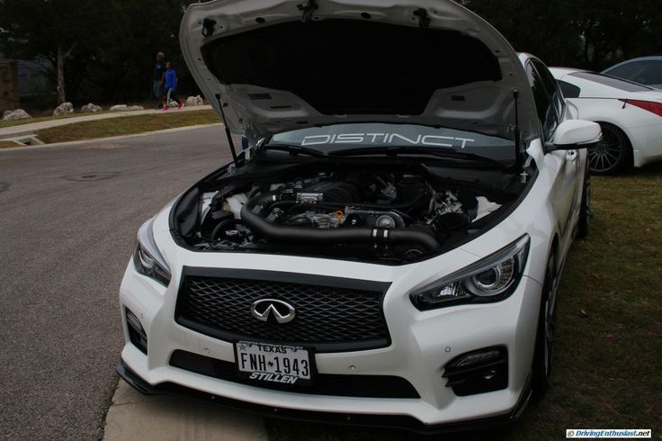 Infiniti Q50, modified with Stillen Supercharger. As seen at the February 2016 Cars and Coffee show in Austin TX USA.