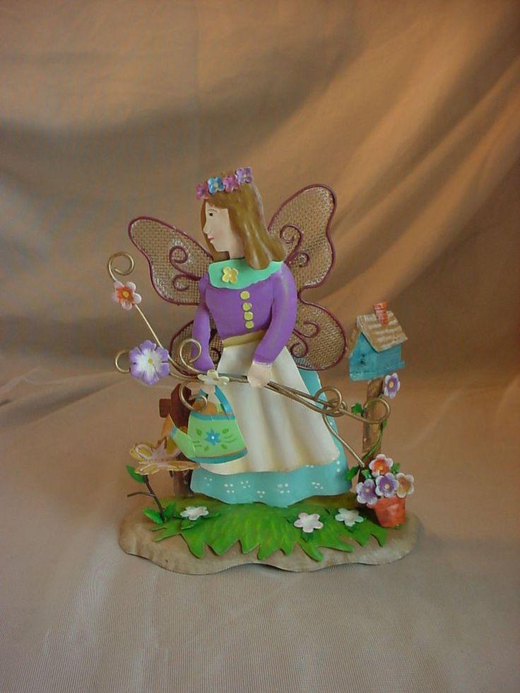 Metal Fairy Sculpture Garden Art Trembler Nodder Girl w Flowers Tin Whimsical