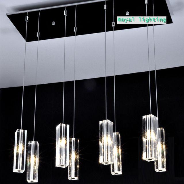 Amplio comedor lámparas de techo cristal 8 luces de gran bloque cristal Simple cristal colgante de luz de la cocina luz colgante luz led