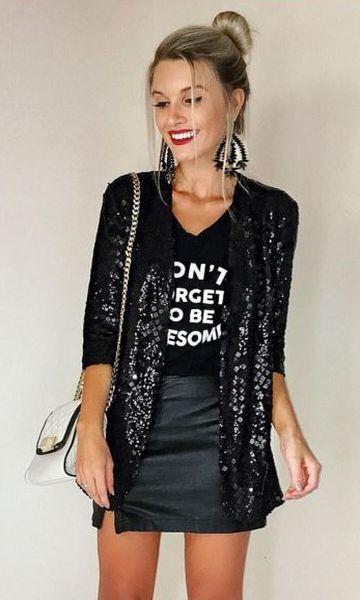Look Natal Blazer Paetê + Saia de Couro Fake | Moda ♥ Estilo ♥ Fashion in 2019 | Fashion, Sequin jacket, Trendy dresses