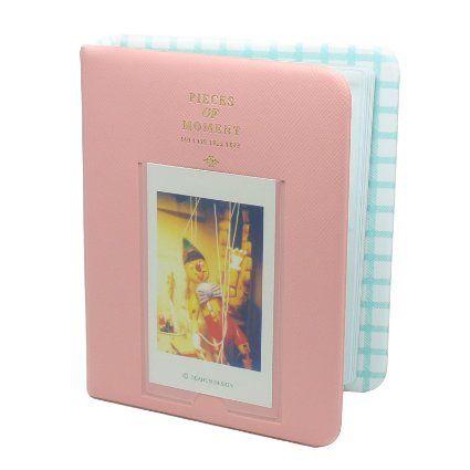 [Fujifilm Instax Mini Photo Album]- CAIUL Pieces Of Moment Mini Book Album For Films Of Instax Mini 7s 8 25 50s 90/ Pringo 231/ Fujifilm Instax SP-1/ Polaroid PIC-300P/ Polaroid Z2300 (64 Photos)-Pink
