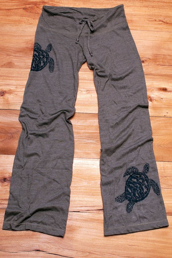 be still my Sea Turtle Yoga Pants, Wideleg Pants, Lounge Pants, in Olive Green, S,M,L,XL on Etsy, $30.00