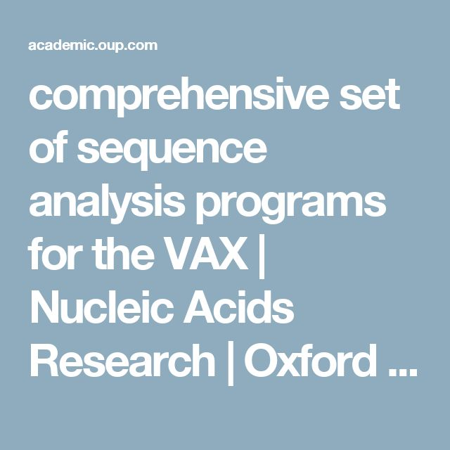 comprehensive set of sequence analysis programs for the VAX | Nucleic Acids Research | Oxford Academic