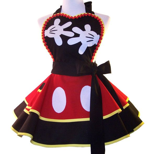 Cosplay Mickey Apron Retro Mouse Apron by WellLaDiDaAprons on Etsy, $60.00