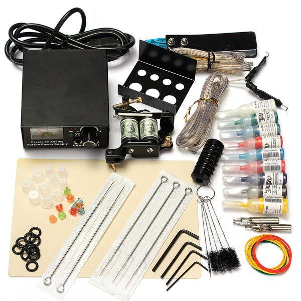 90-250VProfessional Tattoo Machine Ink Power SupplyFoot pedal Tattoo NeedleSet Kit