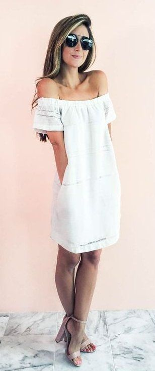 #summer #outfits  Little White Off The Shoulder Dress + Nude Sandals