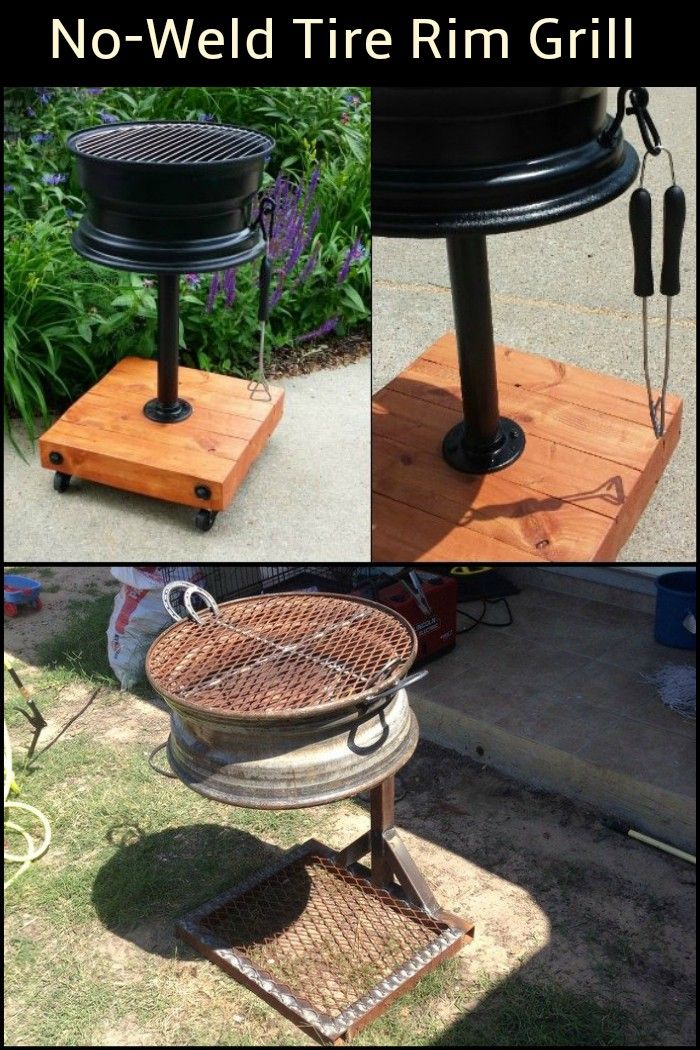 This DIY grill is made out of only one tire rim and it does not require any welding.